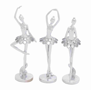 Dazzling and Beautiful Silver Polystone Ballet Dancer Assorted Set of Three - 44220 by Benzara