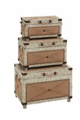 Hagen Antiqued Design Enduring Trunk Set Brand Benzara