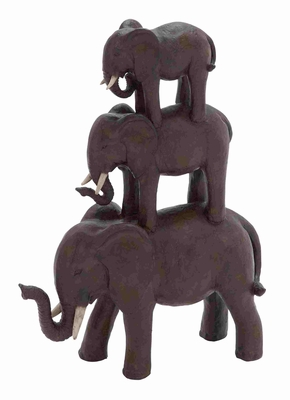Trio Stack of Poly Stone African Elephants - 44725 by Benzara