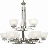 Half Dome Collection Enthralling 9 Lights Chandelier in Satin Nickel Finish by Yosemite Home Decor