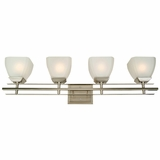 Half Dome Collection Gorgeous 4 Lights Vanity Lighting in Satin Nickel Finish Frame Frost by Yosemite Home Decor