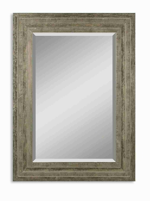 Hallmar Wood Wall Mirror with Distressed Silver Leaf And Gray Undertones Brand Uttermost