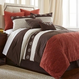 Halsten Rust Queen Eight Piece Embroidered Comforter Set