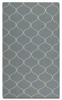Hamilton Blue Grey 5' Woven Wool Rug with Off White Details Brand Uttermost