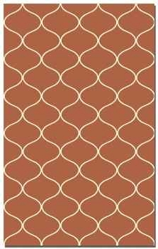 Hamilton Paprika 5' Woven Red Wool Rug with Off White Details Brand Uttermost