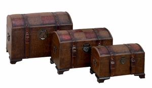 Hampton Series Faux Leather N Wood Chest Trunks - Set of 3 Brand Woodland