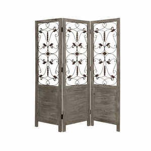 Hampton Solid Wood Screen Handcrafted with Antiqued Brass in Grey Brand Screen Gem