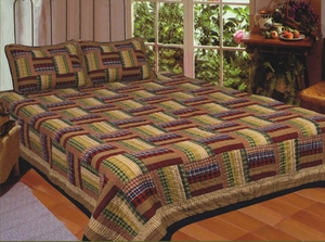 Hand Crafted Queen Sized Cotton Filled Six Bars Quilt by American Hometex