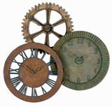 Hand Forged Gears Wall Clock with Red Brown and Sage Rust Brand Uttermost