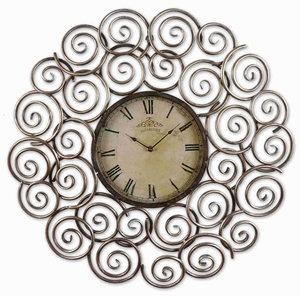 Hand Forged Wall Clock With Antique Silver Leaf Detail Brand Uttermost