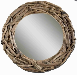 Hand Made Mirror with Stained Natural Teak Root Frame Brand Uttermost