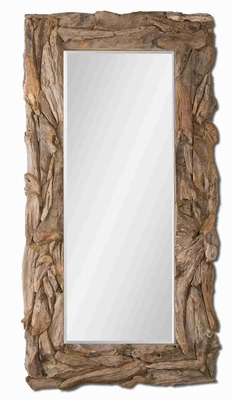 Hand Made Rectangular Mirror with Stained Natural Teak Root Frame Brand Uttermost