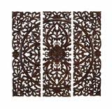 Handcarved Wood Wall Panels Sculpture with Zali Design - Set of 3 Brand Woodland