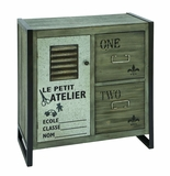 Handcrafted French Workshop Themed Cabinet With Aged Wood Brand Woodland