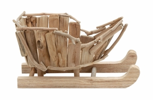 Handcrafted Wood Santa Sled Holiday Decor