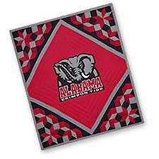Handmade Cotton Quilted Throw with the University of Alabama Logo Brand C&F