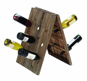 Handmade Rustic Collapsible Wine Rack Stand With 9 Slots Brand Woodland