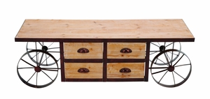 Handmade Rustic Wood Coffee Table Cart With Portable Wheels Brand Woodland