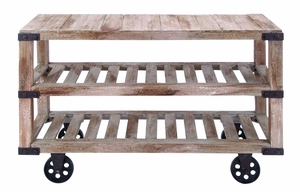 Handmade Rustic Wood Console Cart With Portable Wheels Brand Woodland