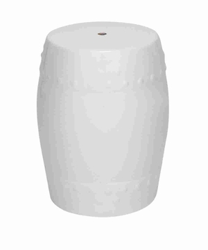 "Handy and Lightweight 18"" H Ceramic Stool in White color Brand Woodland"