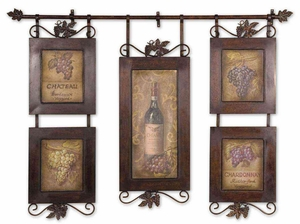 Hanging Wine Framed Art with Black Distressing Brand Uttermost