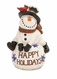 "Happy Holidays Polystone Snowman w/ Led 13""W, 18""H by Woodland Import"