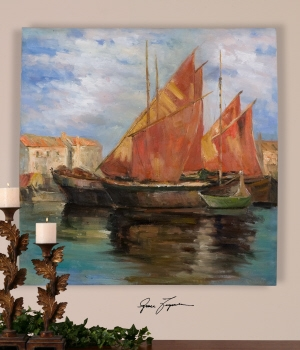 Harbor Artwork Hand Painting With Rustic Sailboats Under A Gorgeous Sky Brand Uttermost