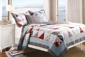 Harbor Sky Cotton Quilt Queen Set With 2 Pillows, 90 X 90 Inch Brand Greenland Home fashions
