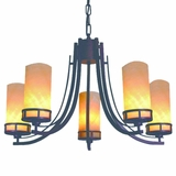 Harlequin Collection Eye catching 5 Lights Chandelier with Dark Burgundy Shade by Yosemite Home Decor