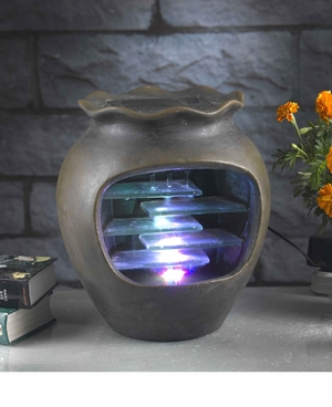 Harmonia Pot Tabletop Fountain with Led Light for Rustic Charm Brand Zest