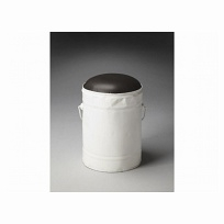 "Harper White Bucket Stool 11""Diam. by Butler Specialty"