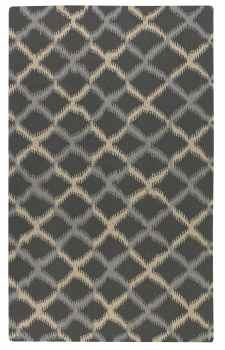 Harrington 5' Woven Wool Rug with A Grey and Cream Ikat Design Brand Uttermost