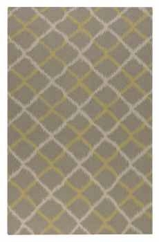 Harrington Grey 8' Grey Rug with A Gold and Cream Ikat Design Brand Uttermost
