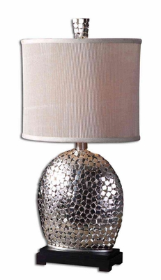 Harrison Silver Table Lamp with Matte Black Base Brand Uttermost