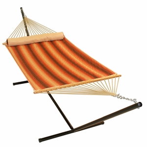 Harvest Stripe 13' Quilted Reversible Hammock with Matching Pillow by Alogma