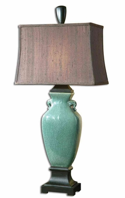 Hastin Turquoise Table Lamp with Oil Rubbed Detailing Brand Uttermost