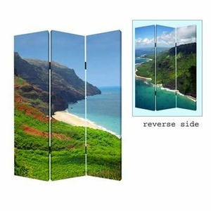 Hawaiian Coast 3 Panel Screen with Complementary Images on Canvas Brand Screen Gem