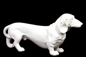 Hawaiians Attractive Ceramic Standing Dog White by Urban Trends Collection