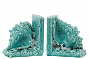 Hawaiians Wonderful Ceramic Sea Shell Bookend Turquoise