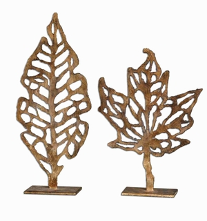 Hazuki Metal Sculpture Set With Distressed Gold Leaf Finish Brand Uttermost