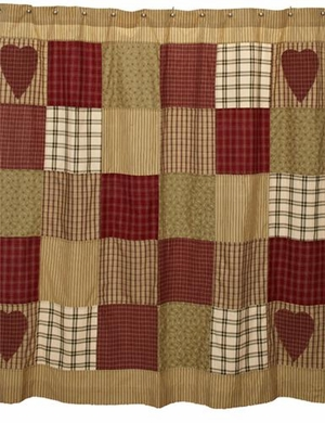 Heartland Shower Curtain Detailed with Patchwork Blocks Brand VHC