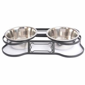 Heavy Duty Pet Double Diner for Dog or Cat (Bone Design) - 2 Qt - 64 oz ? 8 cup