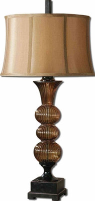 Helios Amber Glass Lamp with Bronze Detailing in Brown Brand Uttermost