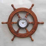 Helm Clock - Wooden Ship Wheel Helm Clock in Antique Brass Brand IOTC