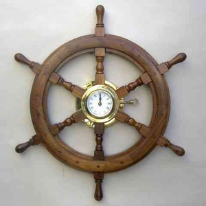 Helm Clock - Wooden Ship Wheel Helm Clock in Brass Brand IOTC