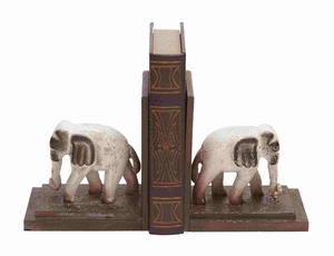Helsinki Bookend Pair Elephant Chiseled Charismatic Creation Brand Benzara