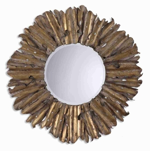 Hemani Mirror with Hand Forged and Hammered Gold Leafing Brand Uttermost