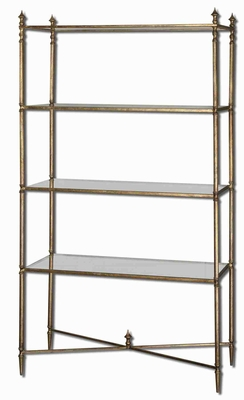 Henzler Mirrored Glass Etageres Bookshelf Stand With Forged Iron Frame Brand Uttermost