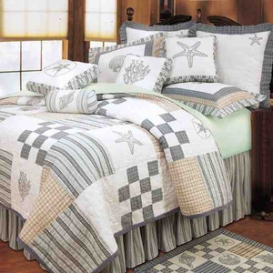 Hightide Shell Coastal Nautical Quilt Luxury Twin  Bedding Ensembles Brand C&F