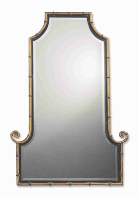 Himalaya Flat Top Arched Wall Mirror with Antique Gold Rod Brand Uttermost